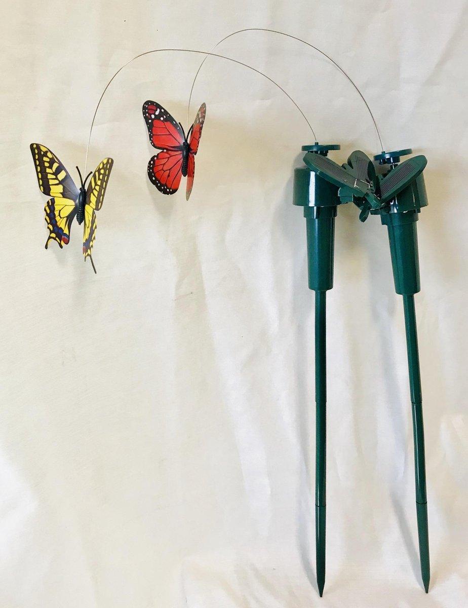 Vlinders die vliegen op solar zonne energie (werkt ook met batterij als er geen zon is). levensechte decoratieve fladderende vlinder op solar voor u t