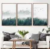 Allernieuwste 3-Delig Canvas Schilderij - MISTIG BOS - Noors bos met vogels - Woonkamer - Natuur - Poster - 3x 40x60cm - Kleur