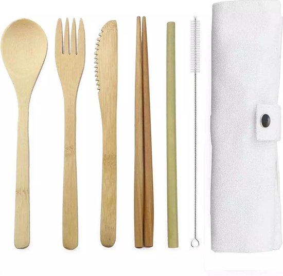 Bamboe bestek - 8-delige set - Wit - 1 persoons