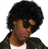 Zwarte afro pruik wet look
