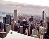 Stad Chicago Tuinposter 200x100 cm - Tuindoek / Buitencanvas / Schilderijen voor buiten (tuin decoratie) XXL / Groot formaat!