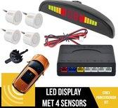 Parkeersensoren Set Met Geluid EN Display | Parkeerhulp | Uiteruitrij Sensoren | 4 Sensoren | Geluids & Visuele Waarschuwing | Plug & Play | Inclusief Boor | WIT