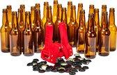 Brew Monkey Flessenset - 24 flessen en kroonkurkapparaat met 30 kroonkurken - Zelf bier bottelen - Bierflesjes