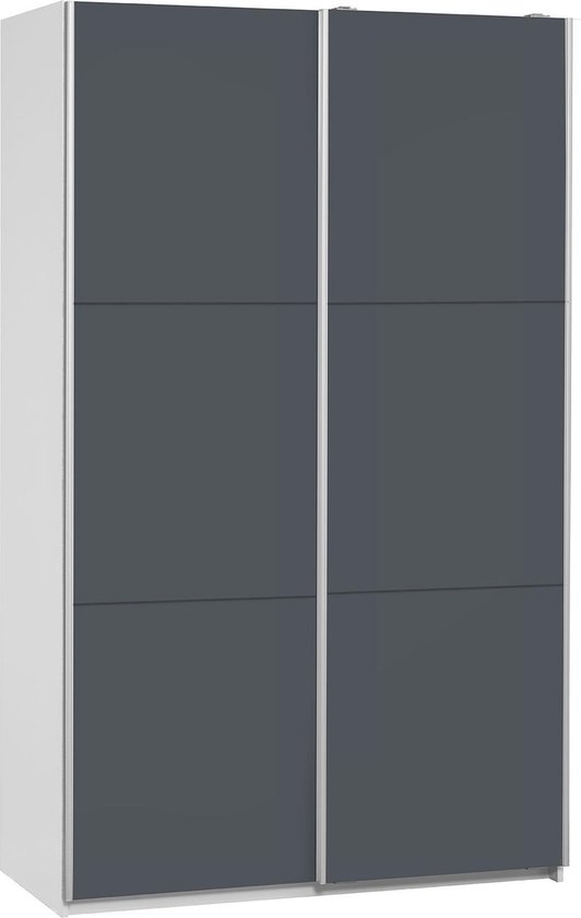 True Furniture Sammy 120  - Kledingkast - Ombouw wit + deuren donkergrijs
