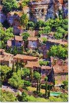 Graphic Message Tuin Schilderij op Outdoor Canvas - Dorp Frankrijk Landschap - Buiten