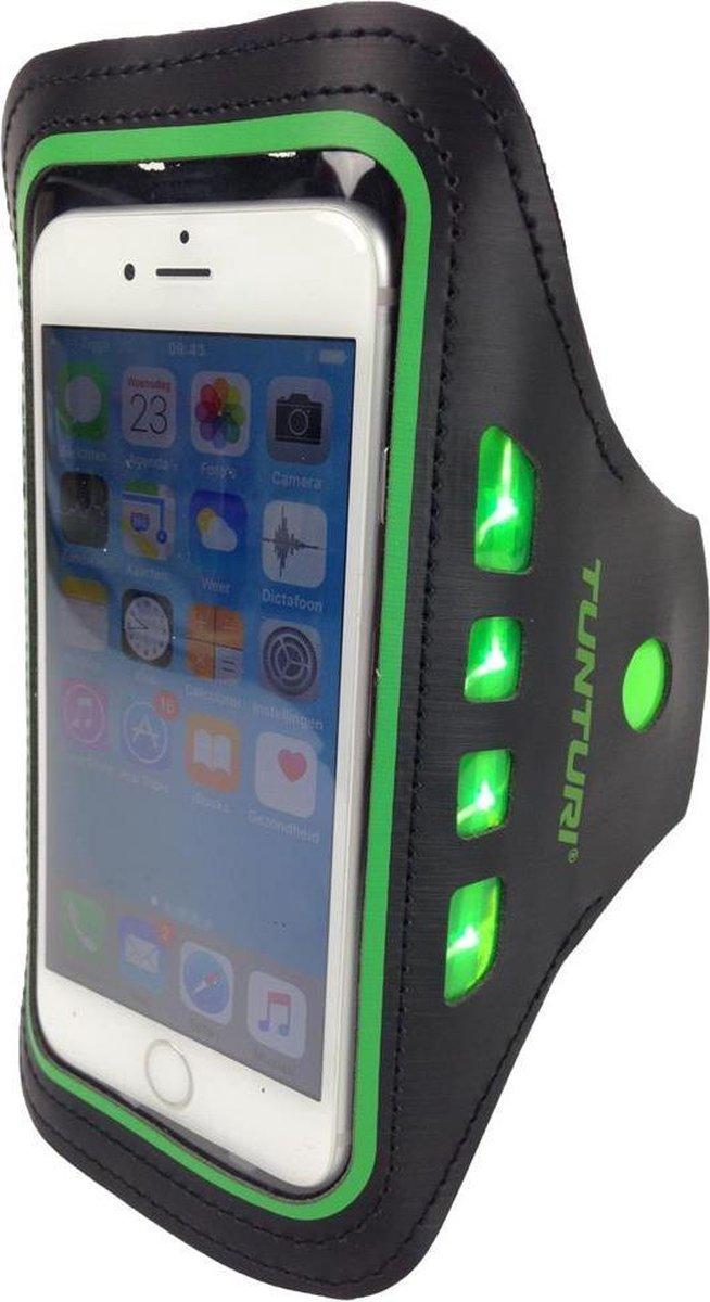 Tunturi Sport Telefoonarmband - Sportarmband - Hardloop armband - Smartphone armband - met Ledverlichting Groen - Tunturi