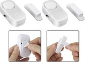 2x Draadloze Mini-Alarmen Set met Sensor - 2 Stuks  - 95 dB - Inclusief Batterijen en Montageset | Pakket van 2 Magnetische Deur en Raam Sensor Alarmsystemen | Woningbeveiliging | Waarschuwings Alarm Tegen Inbrekers en Indringers