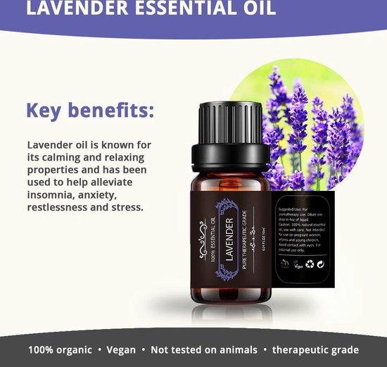 6 Etherische Oliën 100% Puur en Natuurlijk Geschikt voor Aroma Diffuser  Essentiële Olie Set   Lavendel, Pepermunt, Tea Tree, Eucalyptus, Orange, Lemongrass