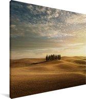 Geel landschap in het Italiaanse Toscane Canvas 90x90 cm - Foto print op Canvas schilderij (Wanddecoratie woonkamer / slaapkamer)