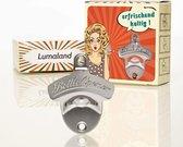 Lumaland - Flessenopener - Flesopener voor aan de muur - BOTTLE OPENER - 80x65mm - RVS - Zilver