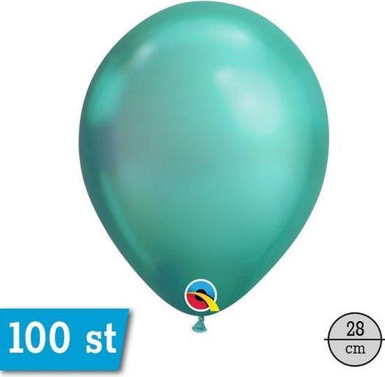 Qualatex Chrome Groen Rond Ballon 28cm, 100 stuks