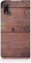 Huawei Y6 2019 Book Wallet Case Old Wood