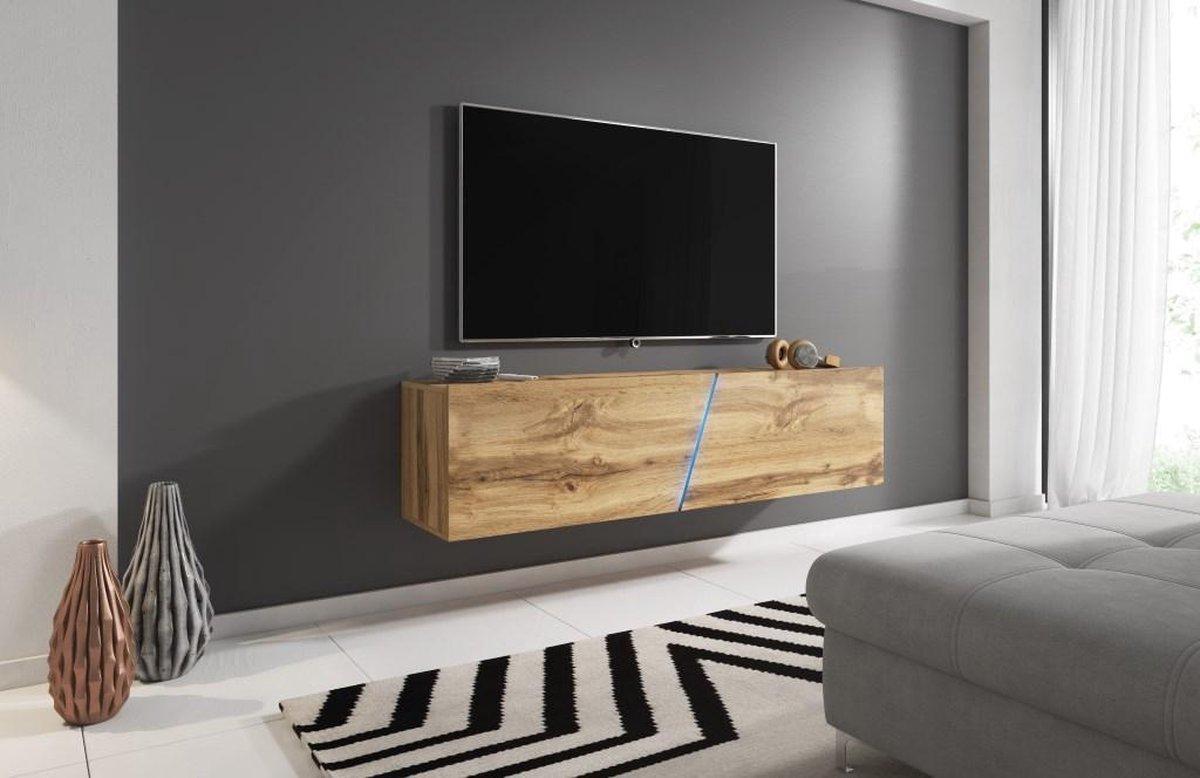 Zwevend Tv Meubel Eiken - Led verlichting - Clean Design