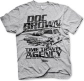 BACK TO THE FUTURE - T-Shirt Doc Brown Time Travel Agency - Grey (M)