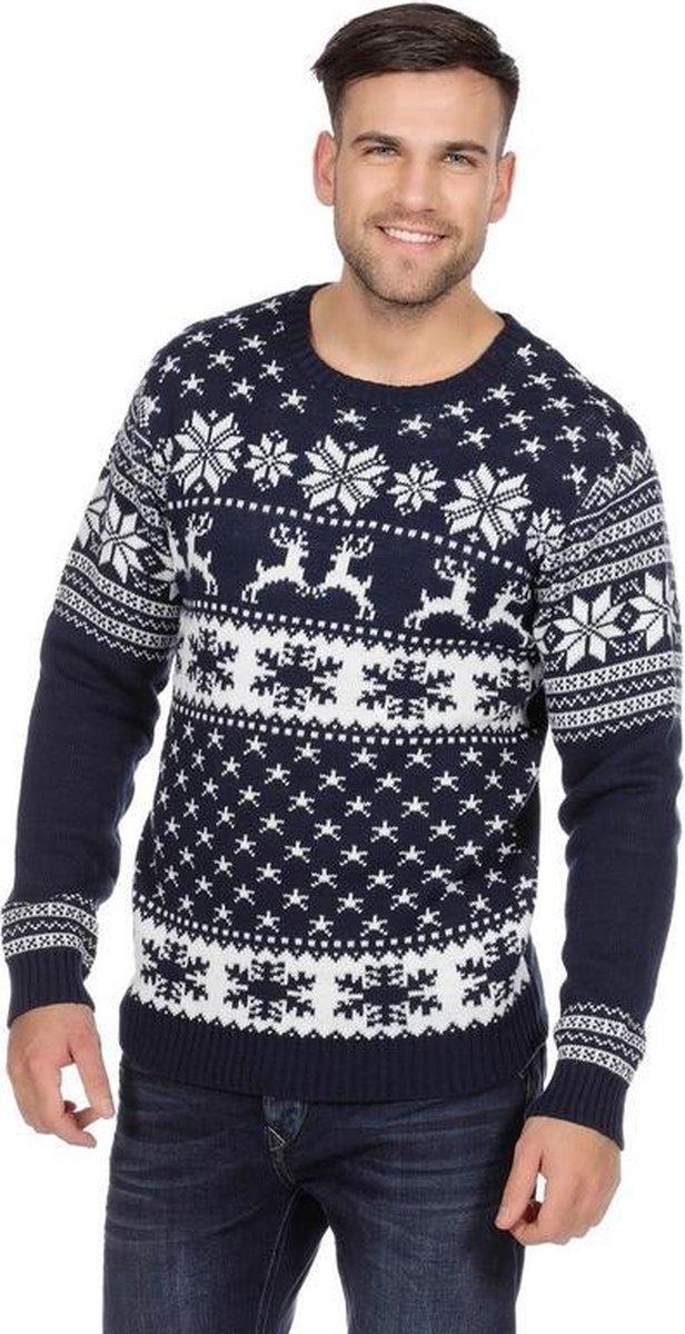 Donkerblauwe kerst trui met rendieren voor heren 54 (XL) - Merkloos