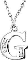 Montebello, zilveren ketting met hanger, Letter G met zirkonia