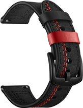 Bandje leer zwart met rode stiksels geschikt voor Samsung Galaxy Watch 46mm & Galaxy Watch 3