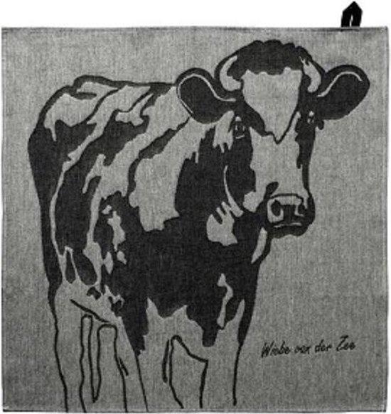 Wiebe van der Zee Theedoek Koe Zwart 60 x 60 cm