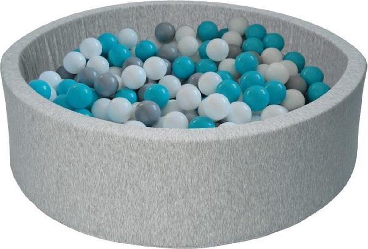 Ballenbak - stevige ballenbad - 90 x 30 cm - 450 ballen Ø 7 cm - wit grijs turquoise
