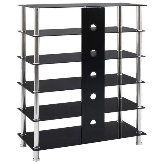 vidaXL Hifi-meubel 90x40x113 cm gehard glas zwart  VDXL_280096