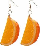 Fako Bijoux® - Oorbellen - Plastic Fruit - Sinaasappel Partje