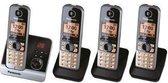 Panasonic KX-TG6724 (Duits model) - Quattro DECT telefoon - Antwoordapparaat - Zwart