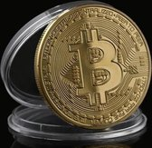 Bitcoin munt met hoesje - Goud