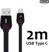 USB kabel Type-C Kabel 2 meter UNIQ Accesory Fast Charging/Data Transfer - Zwart Voor Samsung Galaxy S8 S9 Plus note 8 9  A7 2018