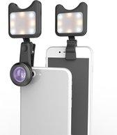 Selfie Flashlight Smartphone Lens Clip-On Groothoeklens 15x met LED-verlichting