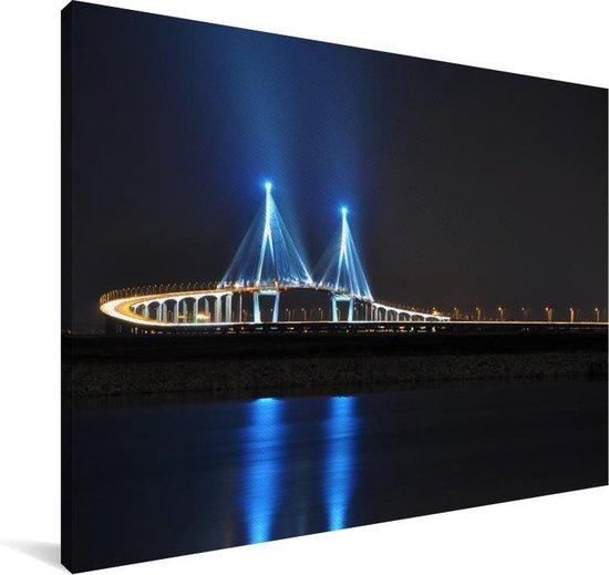 De bekende Incheon-brug bij nacht in Zuid-Korea Canvas 180x120 cm - Foto print op Canvas schilderij (Wanddecoratie woonkamer / slaapkamer) XXL / Groot formaat!