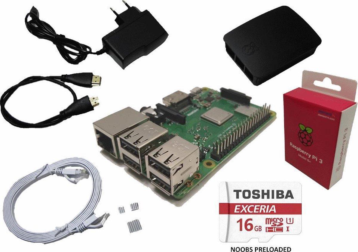 Raspberry Pi 3B+ (2018) starter kit met 16GB, voeding, officiële behuizing, HDMI- & netwerk kabel - Raspberry Pi
