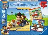 Ravensburger Paw Patrol. Helden met vacht- Drie puzzels van 49 stukjes - kinderpuzzel