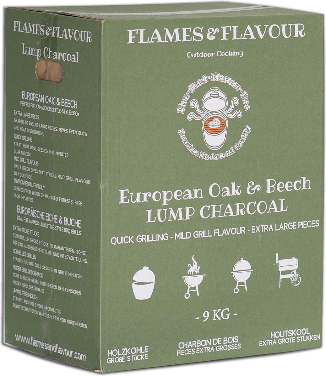 Europees Eiken & Beuken Houtskool 9 KG van Flames & Flavour voor Big Green Egg - Kamado - Kettle BBQ