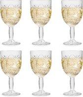 Libbey Wijnglas Atik – 230 ml / 23 cl – 6 stuks – ster motief – vaatwasserbestendig – hoge kwaliteit