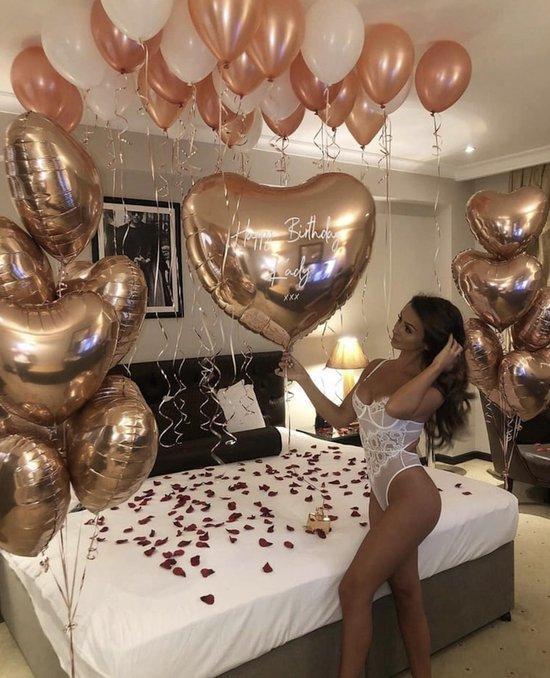 Confetti ballonnen + 100 ballon stickers - 5 stuks - goud