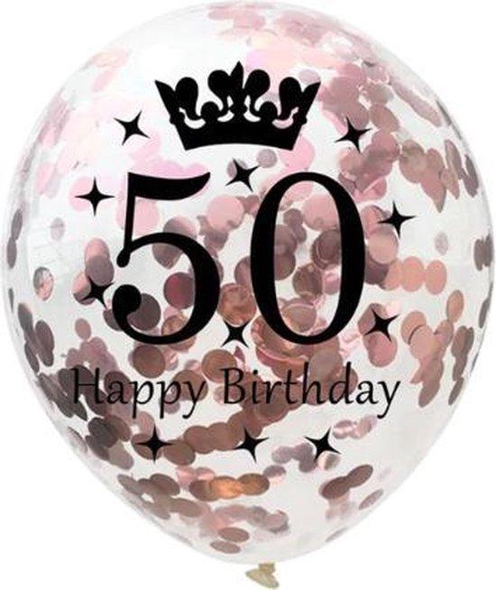 50 Jaar Ballonnen Set - Confetti - 5 stuks - Verjaardag Feest - Versiering - Metallic Rose - 30cm