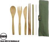 Bamboe bestek  - 8-delige set - Groen
