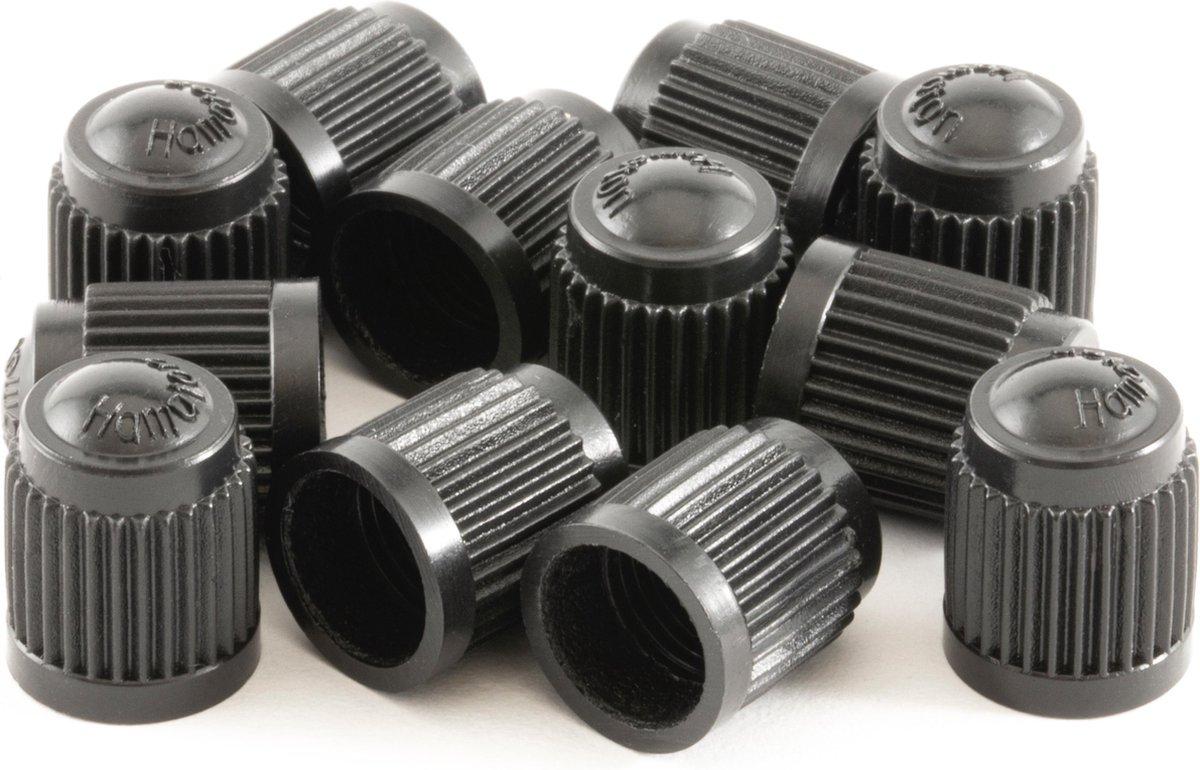 12 PREMIUM universele ventieldoppen voor de auto - Autoventieldoppen - Universeel - Zwart