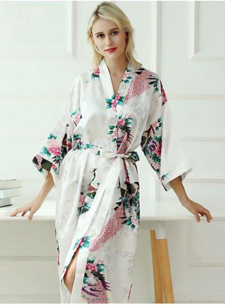 Chinese Kimono badjas ochtendjas wit satijn dames maat XL