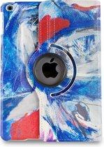 Apple iPad Hoes - 360° Draaibaar - Voor de iPad 2, iPad 3 & iPad 4 - Kunst Abstract Artistiek Blauw en Rood 'Faces' - Uniek Design