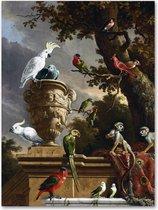 Graphic Message - Schilderij op Canvas - De Menagerie - d' Hondecoeter - Woonkamer - Blauw