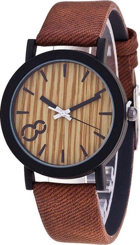 Fako® – Horloge – Houtlook – Roodbruin