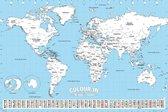Wereldkaart poster  inkleuren 61 x 91.5 cm - multi- wanddecoratie