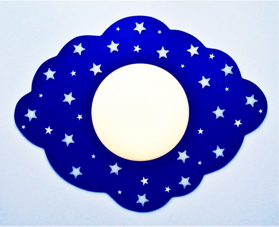 Funnylight kids lamp LED wolk donkerblauw- mooie plafonniere met witte glow in the dark sterren voor de baby en kinderkamer
