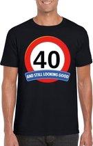 Verkeersbord 40 jaar t-shirt zwart heren M