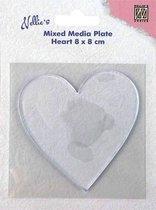 NMMP006 Nellie Snellen - Mixed Media Plate heart - Gelli Hart 8 x 8 cm