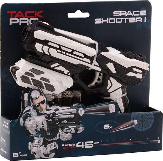 Tack Pro Space Shooter 18cm 6 Darts Blaster Zwart/Wit (darts incl)