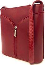 Lundholm - Italiaanse schoudertas crossbody tas dames kleine tas van echt leer - leren tassen dames rood