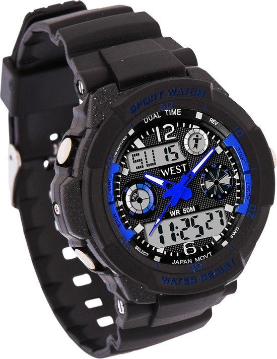 West Watch – multifunctioneel kinder sport horloge -  model Storm – Chronograaf – Shockproof - Digitaal/Analoog - Blauw