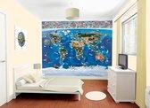 Walltastic - Wereldkaart - Posterbehang - 305 x 244 cm